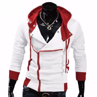 Fancyqube Aliexpress explosion of Assassin s Creed sweater obliquezipper hooded jacket men s W20 White - intl