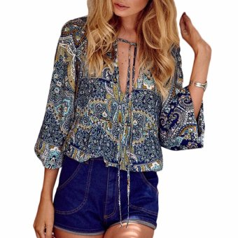Fancyqube Bohemian V Neck Lace Up Shirt Bohemian V Neck Top BohoEthnic Long Sleeve Shirt Vintage Retro Casual Blusas Light Blue -intl
