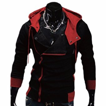 Fancyqube explosion of Assassin s Creed sweater oblique zipperhooded jacket Black Red - intl