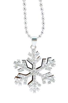 Fancyqube Frozen Diamond Snow Pendant Necklace Diamond White