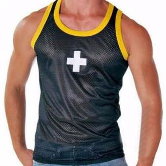 Fancyqube Men's Low Waist Mesh Breathable Cross Vest Black - intl Price Philippines