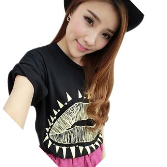 Fancyqube Rivets Lips Fold Sleeve Loose Women Blouse T-Shirt Black