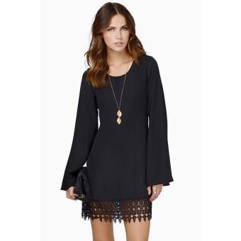 Fancyqube Women Chiffon Shift Dress Long Sleeve Mini Dress Black