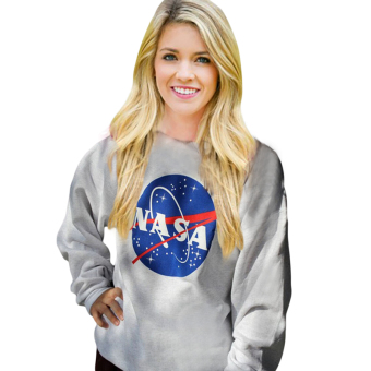 Fancyqube Women Hoodie Sweatshirt NASA Letters Print Tops Grey - intl Price Philippines