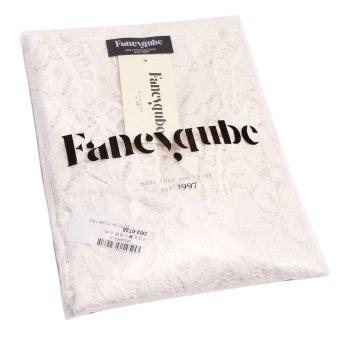 Fancyqube Women V-neck Lace Full Sleeve Mini Dress White - 3