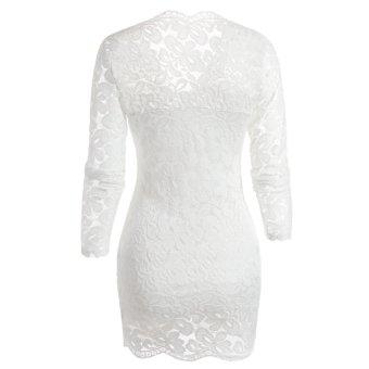 Fancyqube Women V-neck Lace Full Sleeve Mini Dress White - 2