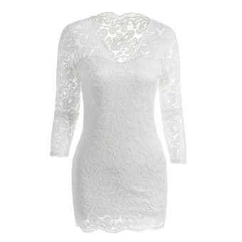 Fancyqube Women V-neck Lace Full Sleeve Mini Dress White Price Philippines