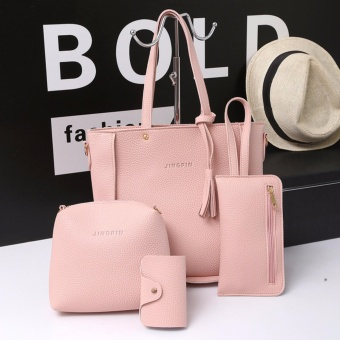 Fashion 4 in 1 Jingpin PU Leather Shoulder Bag Set (Pink)