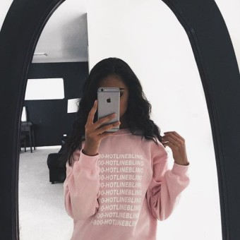 Fashion Autumn Winter Pink Fleeced Thick Warm Hoodies Pullovers 800 Hotline Bling Drake Graphic Sweatshirts Women Harajuku Cute - intl Price Philippines