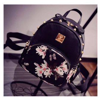 Fashion bags butterfly for girls Korean Mini Bagpack (Black with white) with butterfly design leather