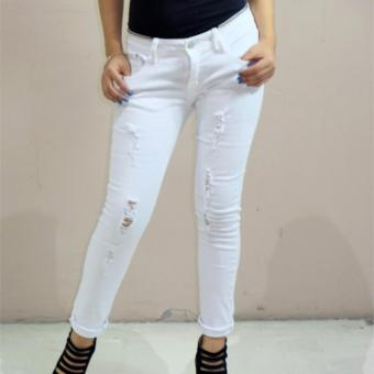 Fashion Balaynor White Tattered Skinny Jeans - 4