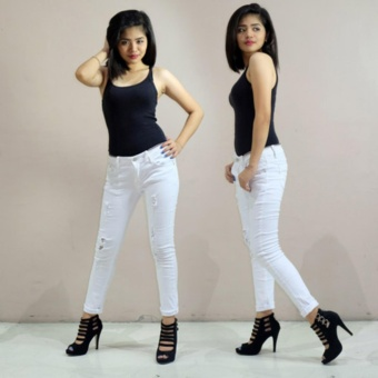 Fashion Balaynor White Tattered Skinny Jeans