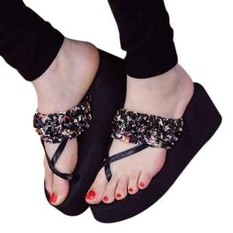 Fashion beach sandals and slippers women Wedge heel flip flops (Black)