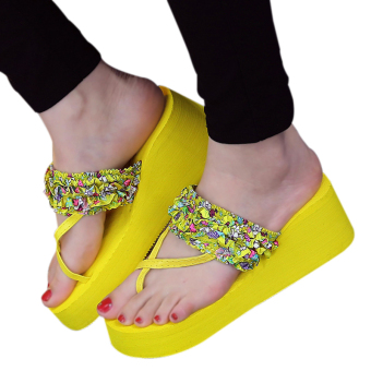 Fashion beach sandals and slippers women Wedge heel flip flops (Yellow)