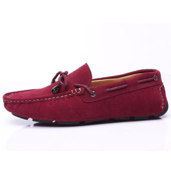 Fashion Bow-knot Lace-Ups Leather Loafers - Red wine - picture 2