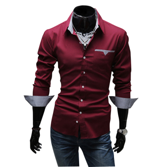Fashion Brand Men Clothes Slim Fit Men Long Sleeve Shirt men purecolor Plaid Cotton Casual Shirts Red for Formal Ocasion - intl