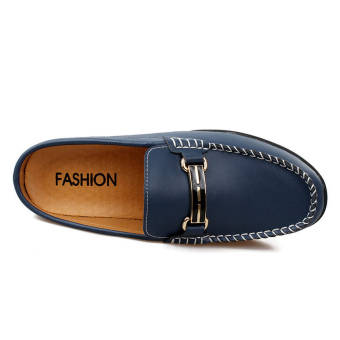 Fashion Breathable Leather Flip-Flops Loafers (Dark Blue)