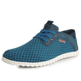 Fashion Breathable Mesh Sport Lace-Ups Men Low Cut Sneakers-Blue