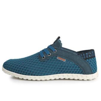 Fashion Breathable Mesh Sport Lace-Ups Men Low Cut Sneakers-Blue - picture 2