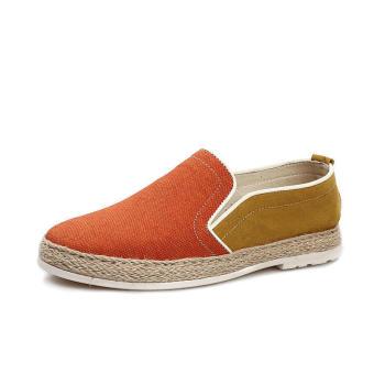 Fashion Canvas Leisure Men Driving Shoes - Orange