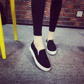 Fashion Canvas Slip On Loafers for Women - Black