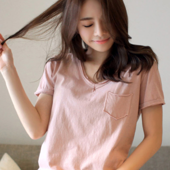 Fashion cotton Black Summer loose short-sleeved t-shirt (Pink color)