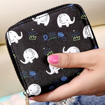 Fashion female Japanese and Korean style student coin bag small wallet (Black)