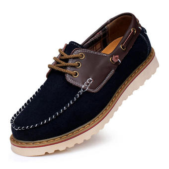 Fashion Flat Brogues Lace-Ups Shoes-Dark blue - picture 2