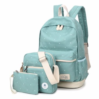 Fashion Floral Lace+Canvas Women Backpack School bag For Teenagers Girls Back Pack School bags Bagpack Mochila ( 3 Pieces Bag Set ) - intl