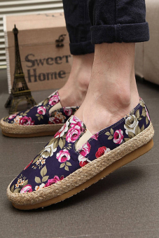 Fashion Flowers Canvas Flat Shoes- Blue - picture 2
