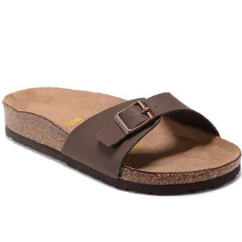 Fashion For Birkenstock Madrid Flat Slippers Women (Brown) - intl