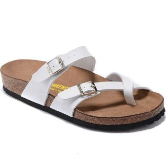 Fashion For Birkenstock Mayari Birko-Flor Flat Sandals Women (White) - intl