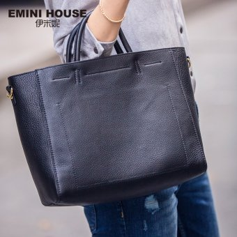 Fashion Genuine Leather Tote Bag Casual Handbag Women Shoulder Bag(Black) Price Philippines
