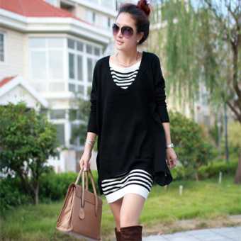 Fashion in the long section loose women knit dress Dress (Black)