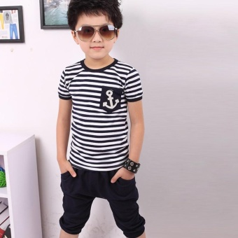Fashion Kids Clothes Set Boys Navy Striped T-shirt and Pants Suits Summer Children Clothing - Navy blue - intl - 2