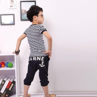 Fashion Kids Clothes Set Boys Navy Striped T-shirt and Pants Suits Summer Children Clothing - Navy blue - intl - 4