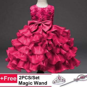 Fashion Kids Clothing Sequin Elegant Flower Girls Party Princess Wedding Tutu Layer Dress - intl