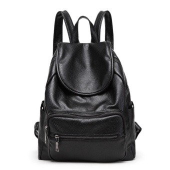 Fashion Korean version Backpacks PU Leather Women Backpack School Bag Forteenagers Ladies Girl Back Pack Bagpack Mochila (black) - intl