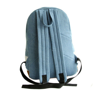 Fashion Lace Denim Women Canvas Backpack Schoolbag Dark Blue - picture 2