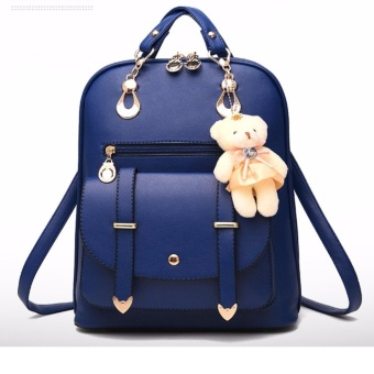 Fashion ladies leather bear pendant backpack (Blue)