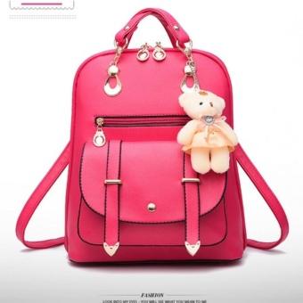 Fashion ladies leather bear pendant backpack (Pink)