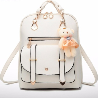Fashion ladies leather bear pendant backpack (white) Price Philippines