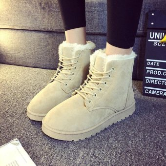 Fashion Ladies Women Boots Flat Ankle Lace Up Fur Lined Winter Warm Snow Shoes - intl