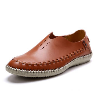 Fashion Leather Casual Loafers - Brown