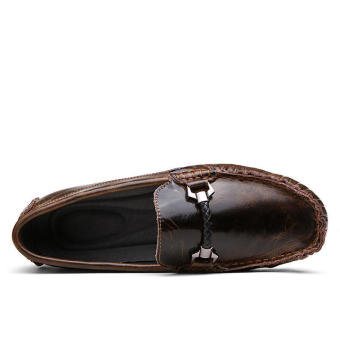 Fashion Leather Discolored Men Loafers - Coffee - picture 2