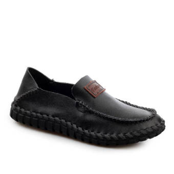 Fashion Leather Flat Loafers -Black - picture 2
