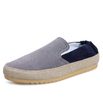 Fashion Leather Flat Loafers Shoes-Grey