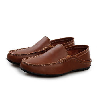 Fashion Leather Round Flat Loafers Dark Brown - picture 4