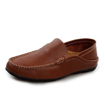Fashion Leather Round Flat Loafers Dark Brown