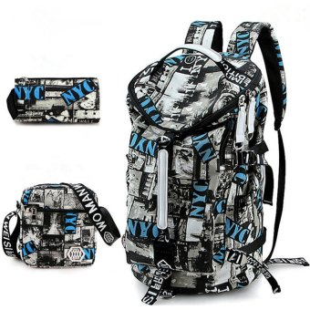 Fashion Leisure Large Capacity Backpack New Korean Men Student Back Pack Canvas Bag (Big Size / Grey)
